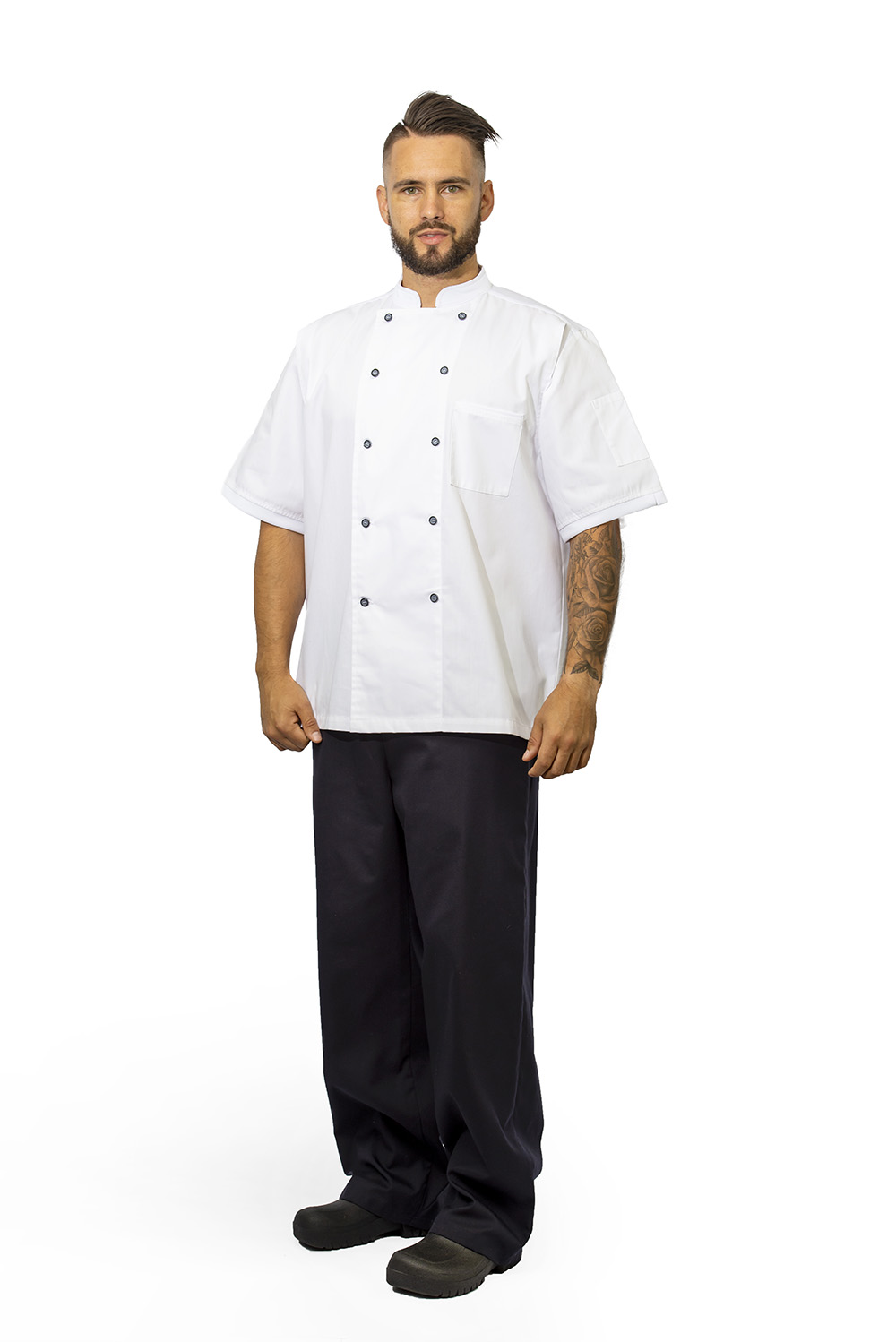 white birdseye chef jacket full