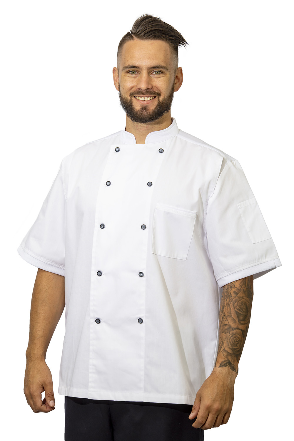 white birdseye chef jacket
