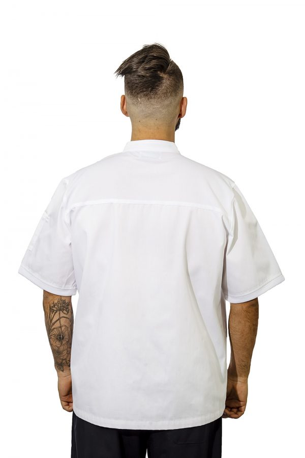 white birdseye chef jacket back
