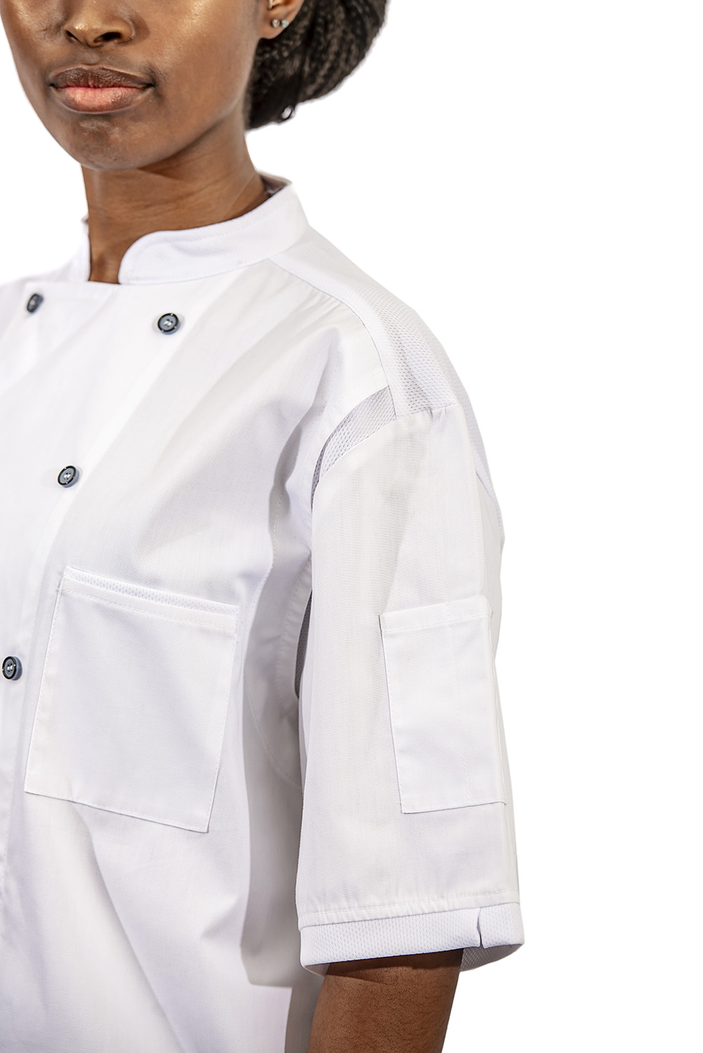 white birdseye chef jacket close up