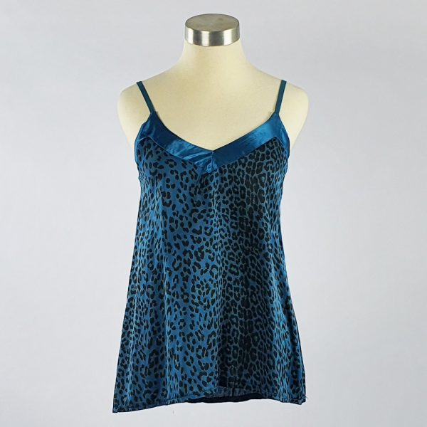 Animal Print Crepe Cami Blue