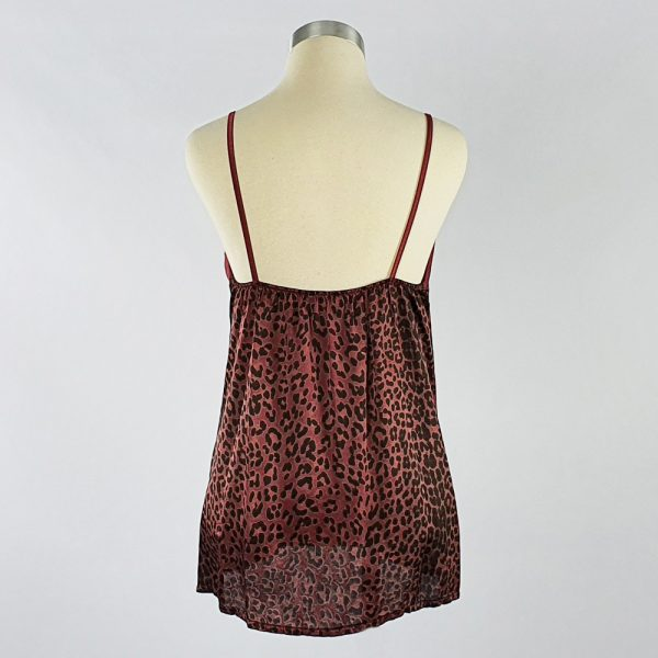 Animal Print Crepe Cami Maroon back