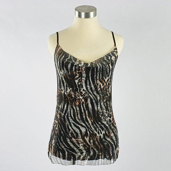 Cowl Neck Mesh Cami Zebra Stone/Black/White