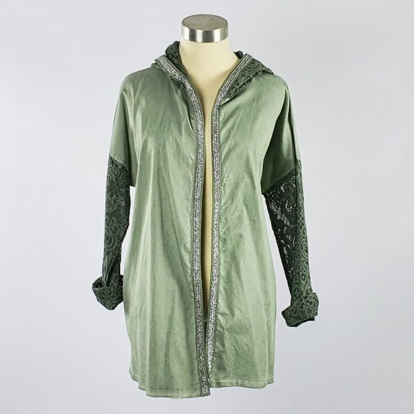 Lace Trim Jacket Green