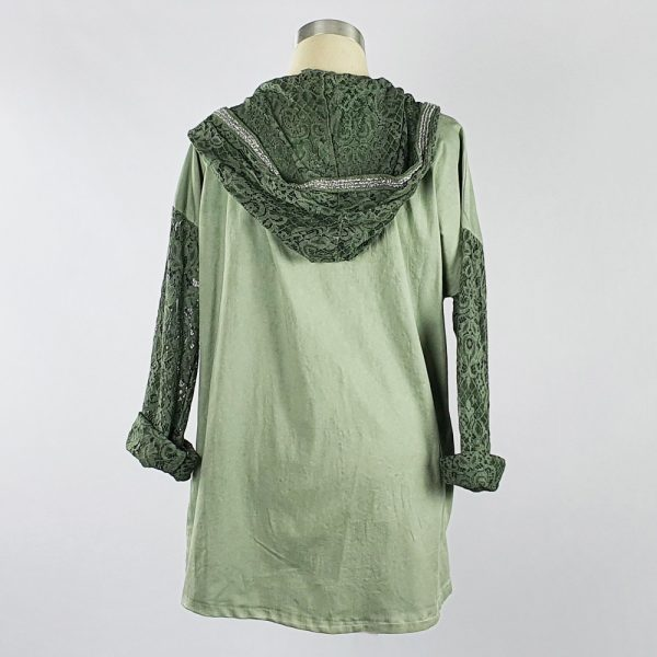 Lace Trim Jacket Green Back