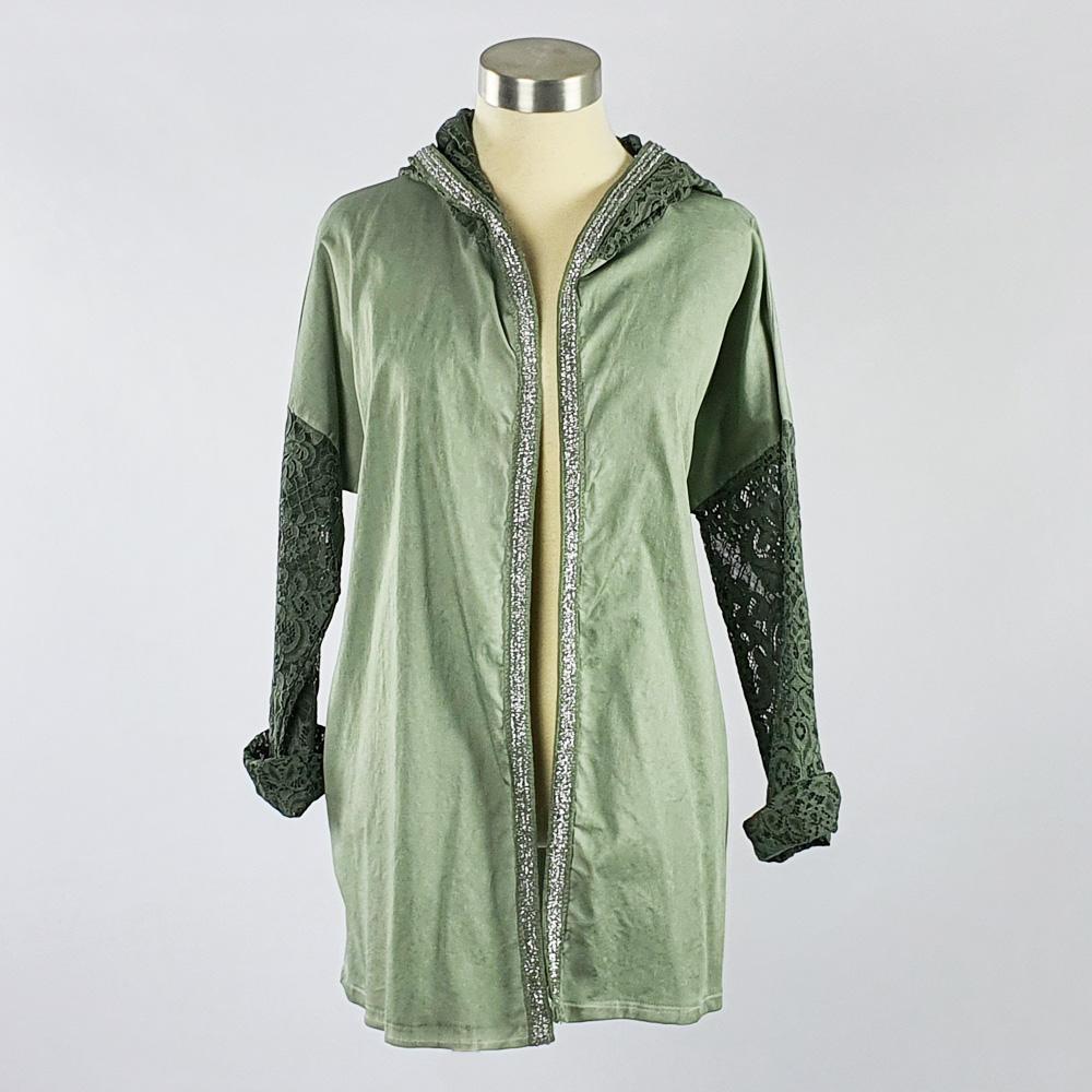 Lace Trim Jacket Green