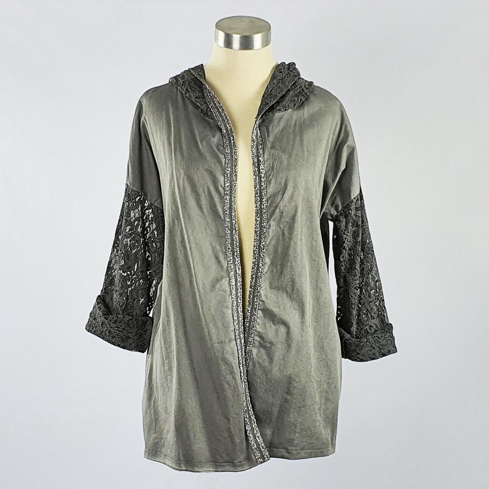 Lace Trim Jacket Dark Grey