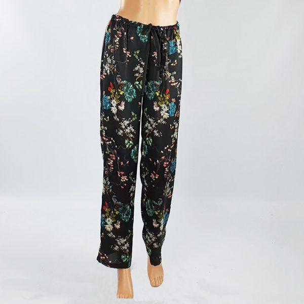 Bubble Satin Drawstring Pants Black Floral
