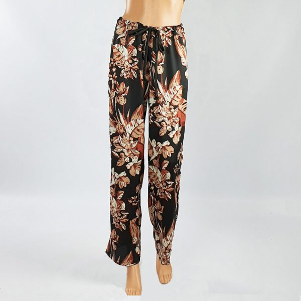 Bubble Satin Drawstring Pants Black/Brown