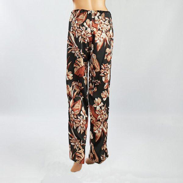 Bubble Satin Drawstring Pants Black/Brown Back