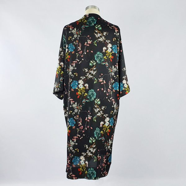 Bubble Satin Kimono Jacket Black Floral Back