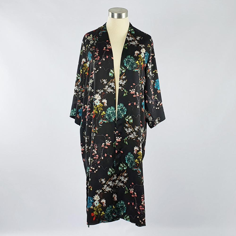 Bubble Satin Kimono Jacket Black Floral
