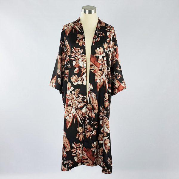Bubble Satin Kimono Jacket Black/Brown Floral