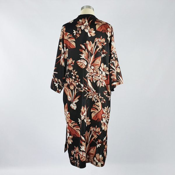 Bubble Satin Kimono Jacket Black/Brown Floral Back