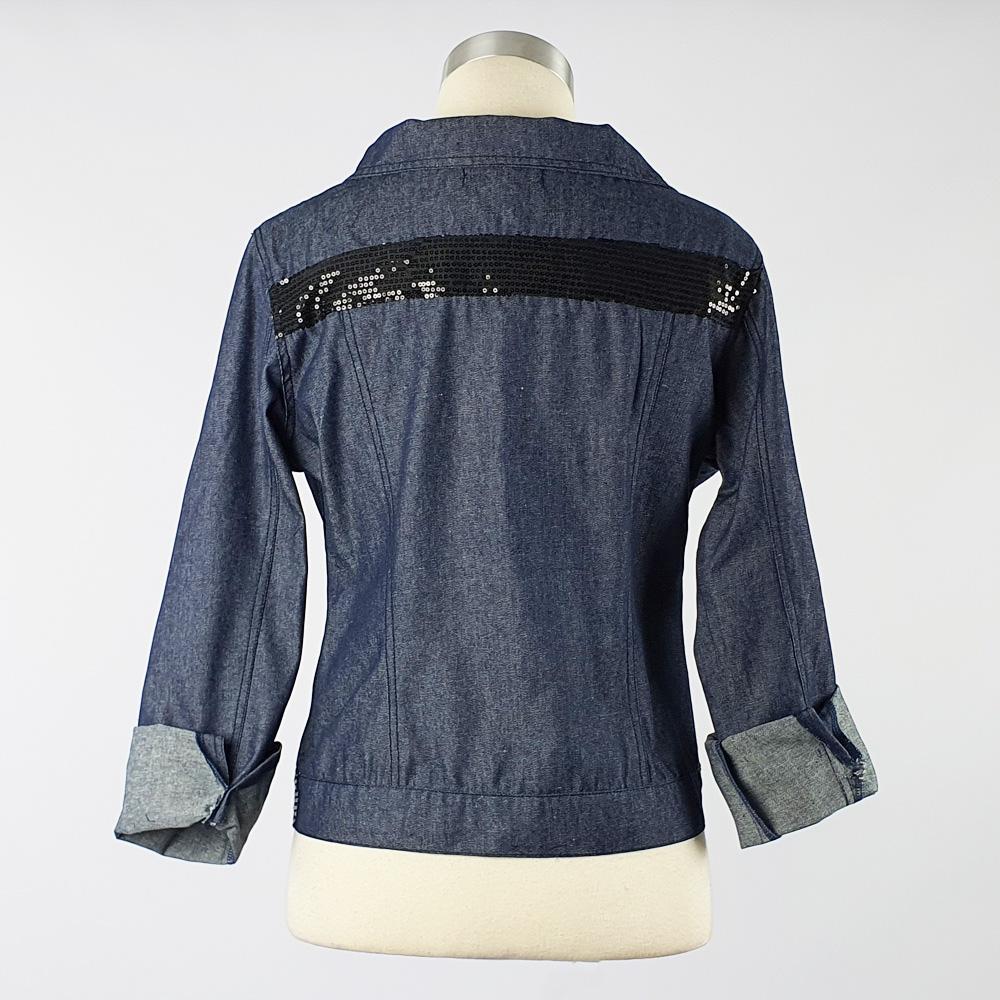 Lightweight Summer Denim Trim Jacket Black Sequin Trim Back
