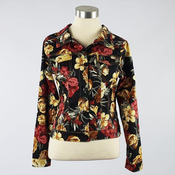 Cotton Sateen Floral Lightweight Summer Jacket Black/Red/Yellow