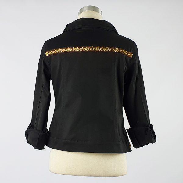 Cotton Sateen Lightweight Summer Jacket Black Trim 1 Back
