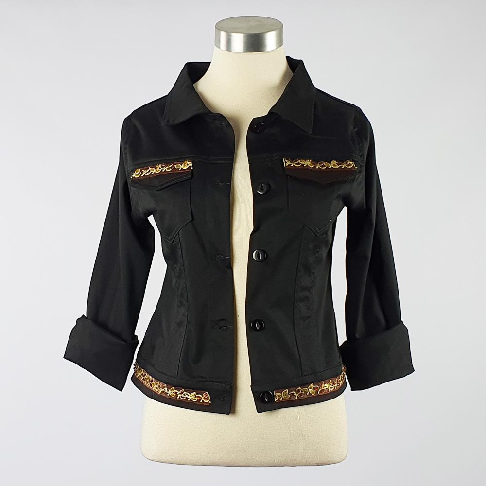 Cotton Sateen Lightweight Summer Jacket Black Trim 1