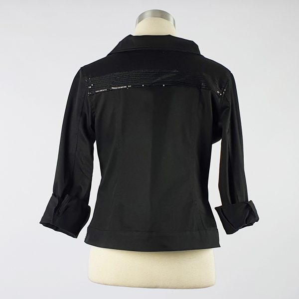Cotton Sateen Lightweight Summer Jacket Black Sequin Trim Back