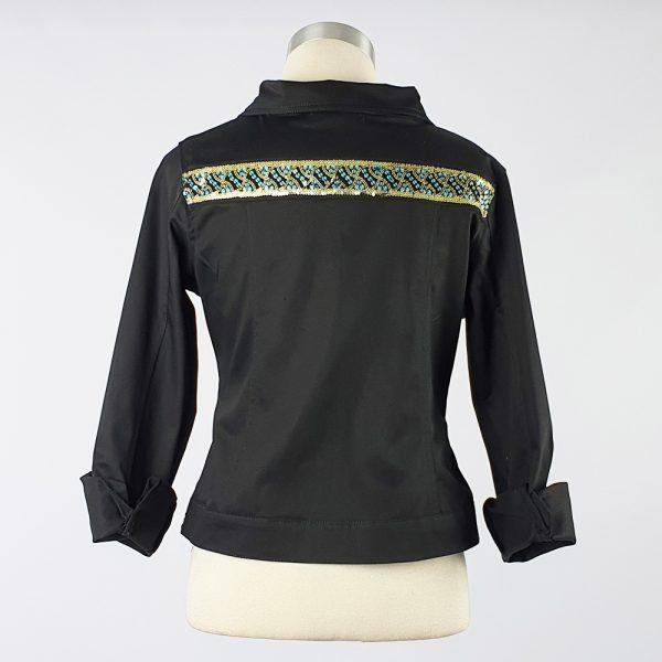 Cotton Sateen Lightweight Summer Jacket Black Trim 3