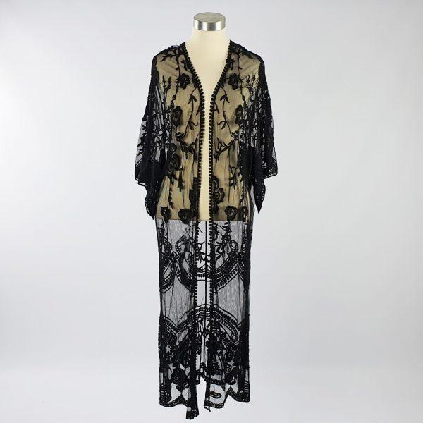 Long Lace Open Kaftan Black