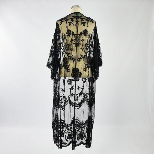 Long Lace Open Kaftan Black Back