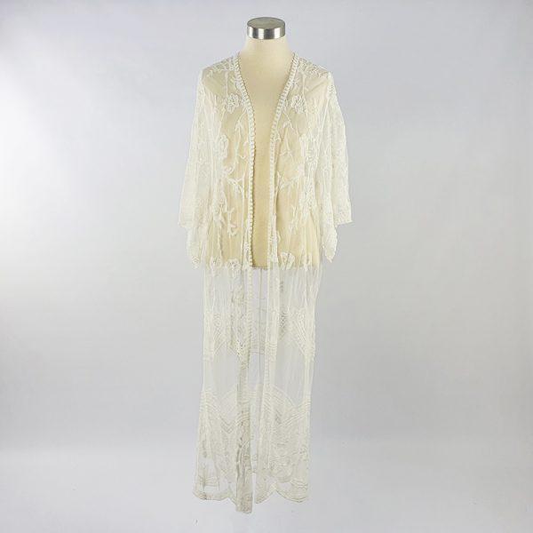 Long Lace Open Kaftan White