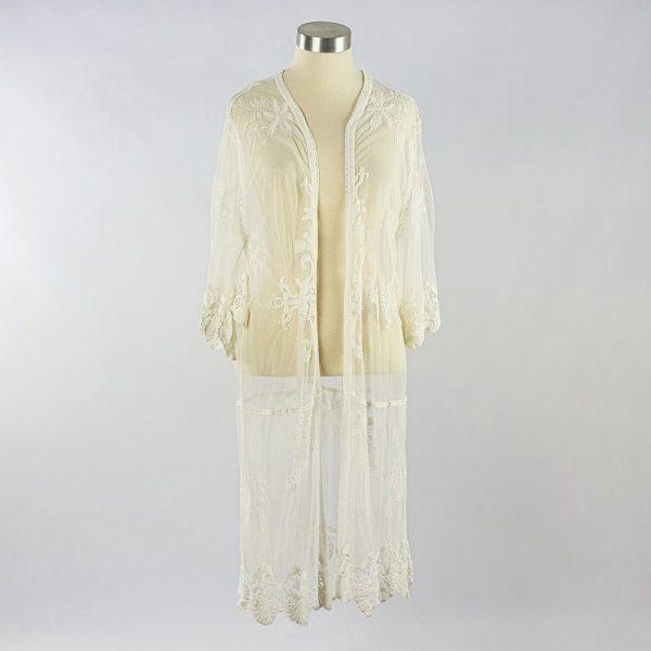 Medium Lace Open Kaftan White
