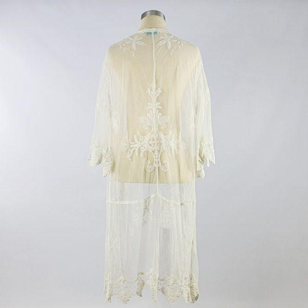 Medium Lace Open Kaftan White Back