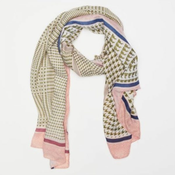 Houndstooth Scarf Green/Pink