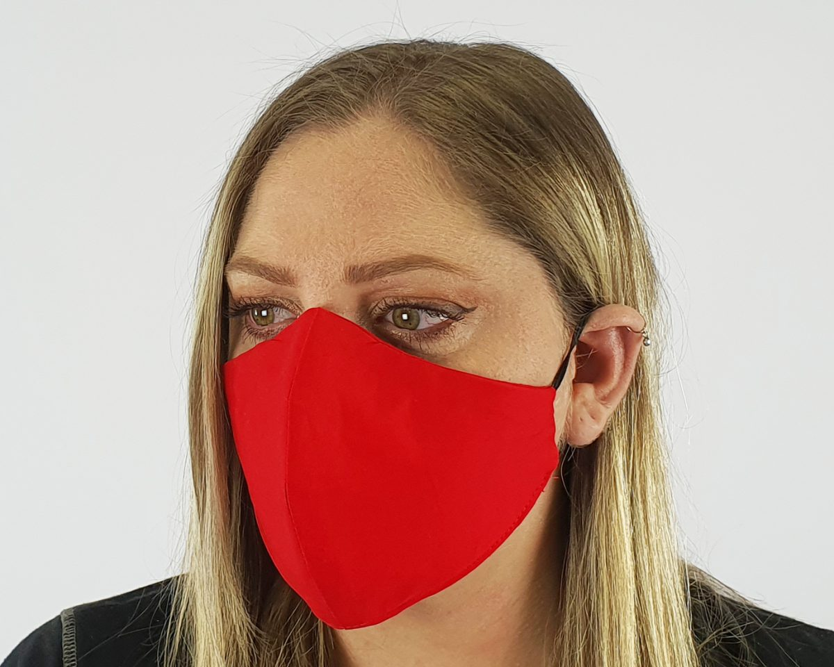 Premium cotton 4 layer red mask