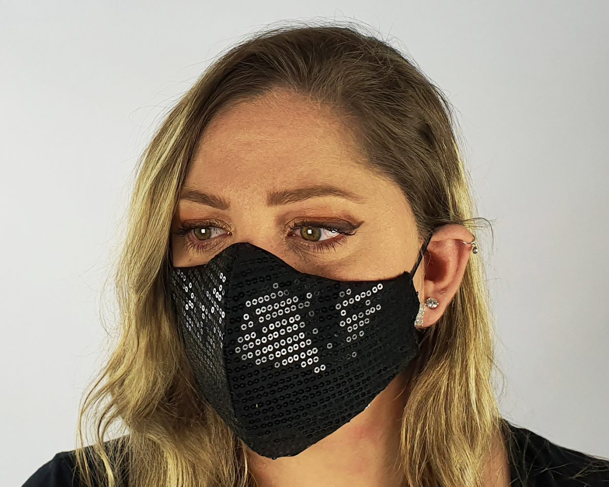 5 Layer 2 Pack Reusable Sequin Mask Black