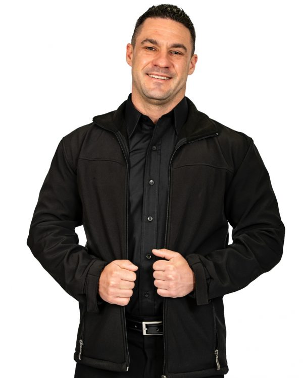 Unisex long sleeve softshell jacket black