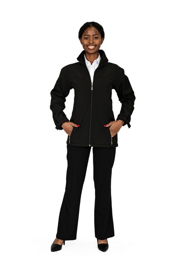 Unisex long sleeve softshell jacket black