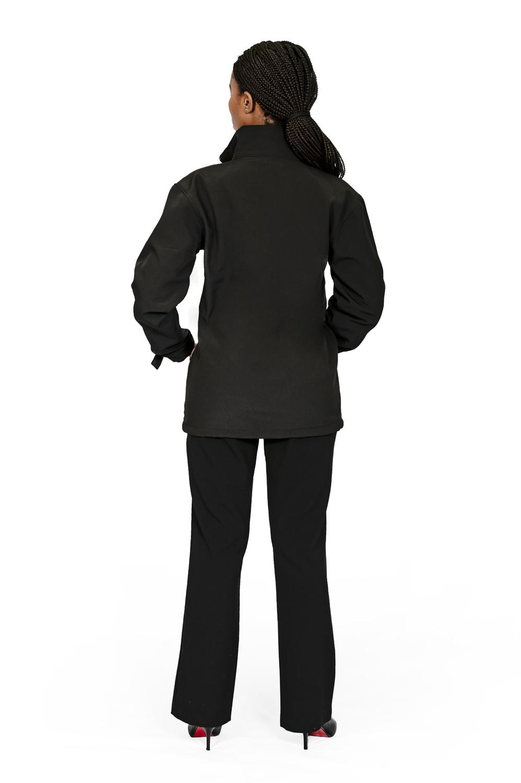 Unisex long sleeve softshell jacket black back