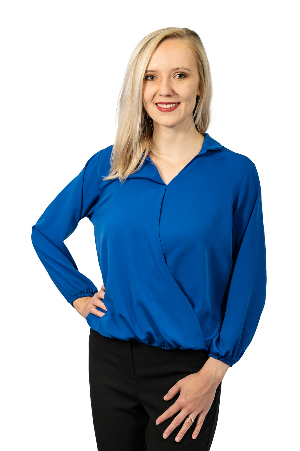 Long sleeve crossover top royal blue front