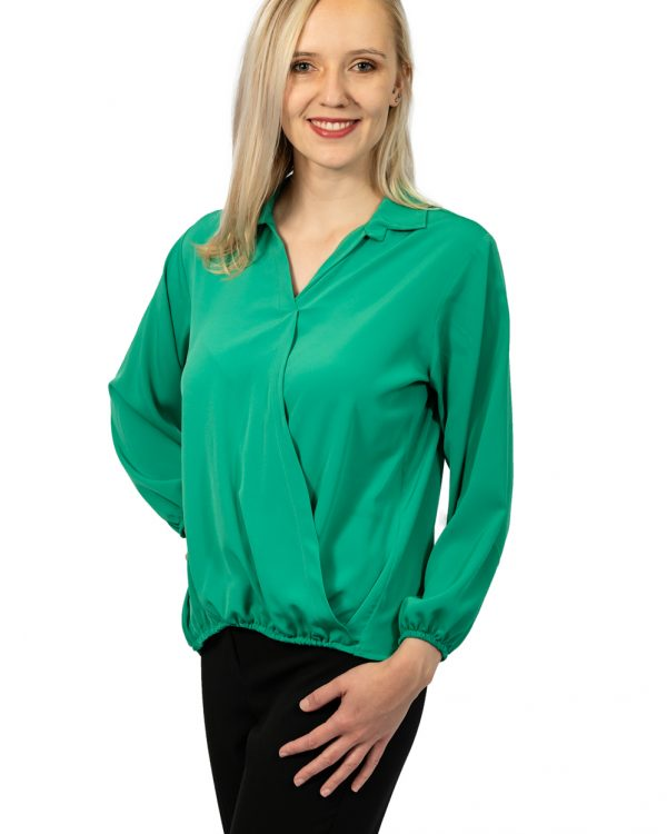 Long sleeve crossover top jade