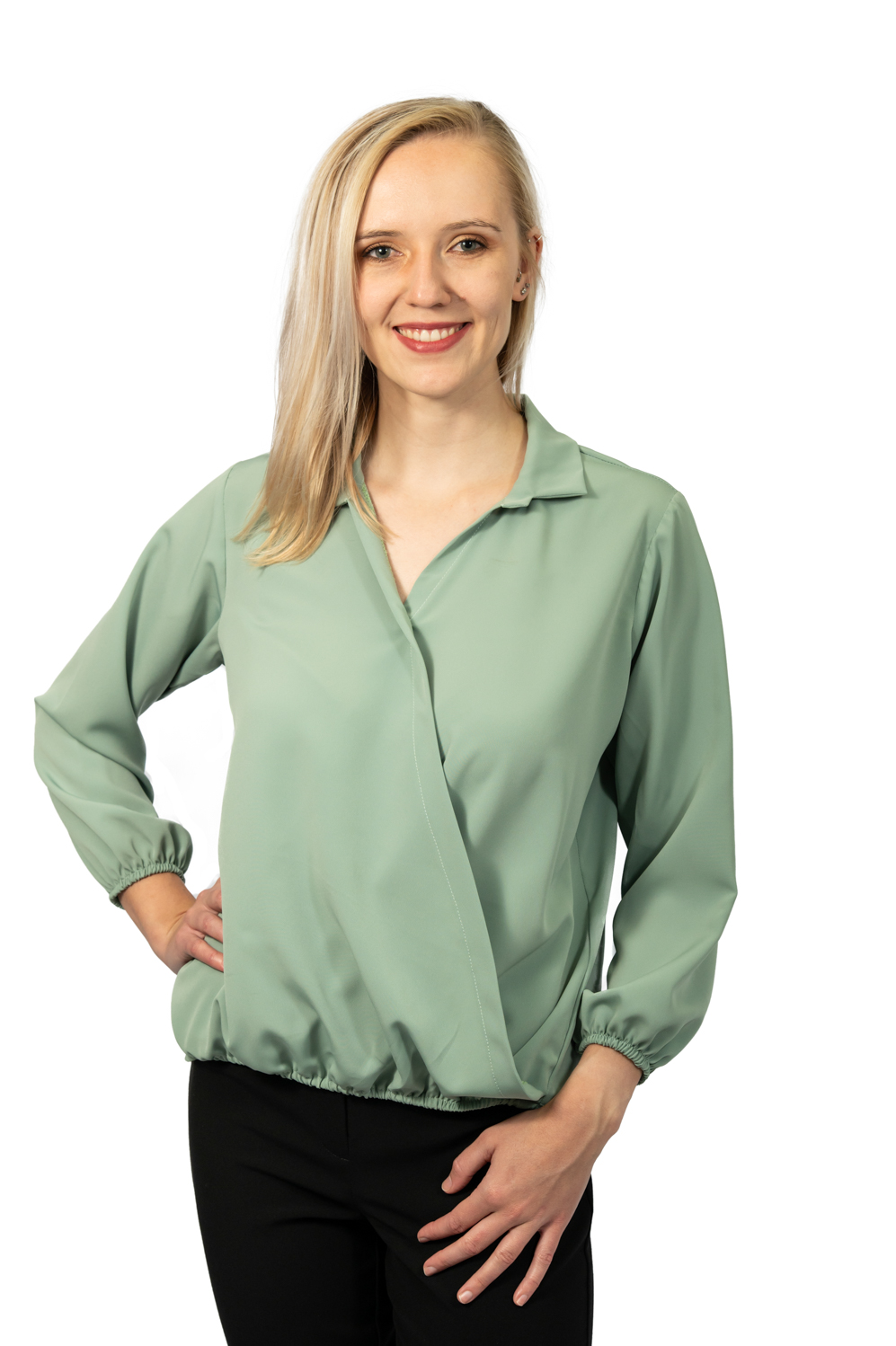 Long sleeve crossover top sage front
