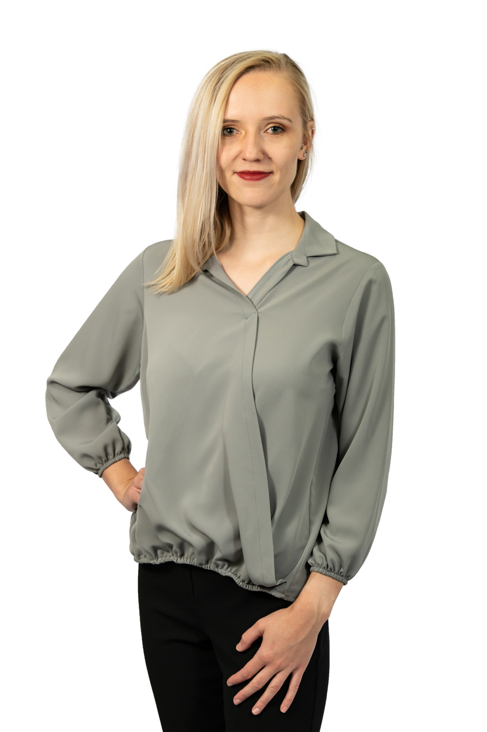 Long sleeve crossover top grey front