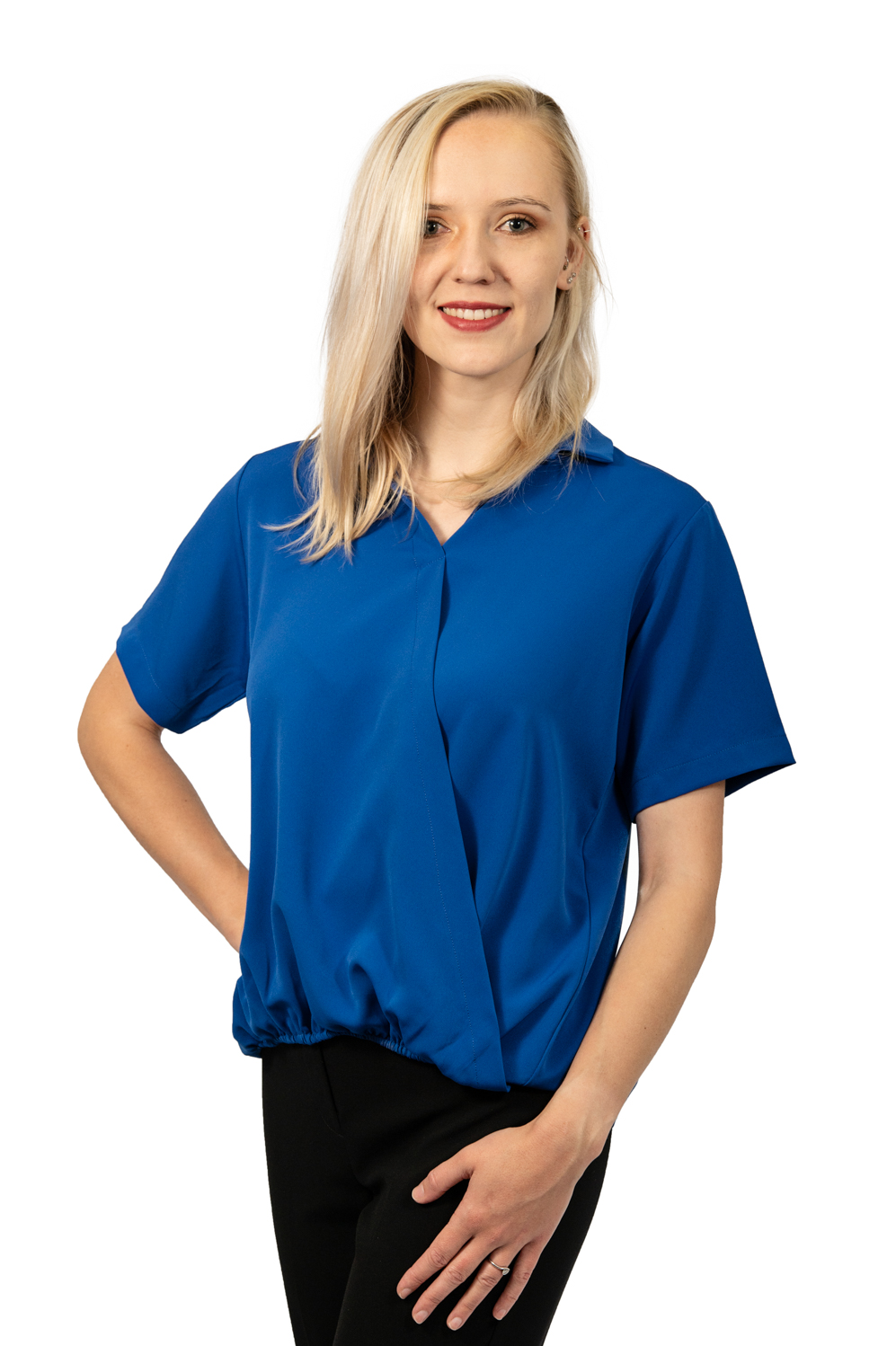 Short sleeve crossover top royal blue front