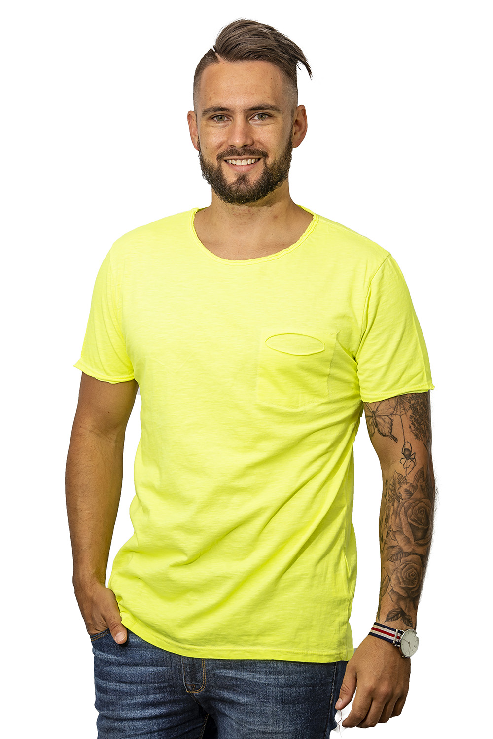 Mens T-shirt with pocket yellow front