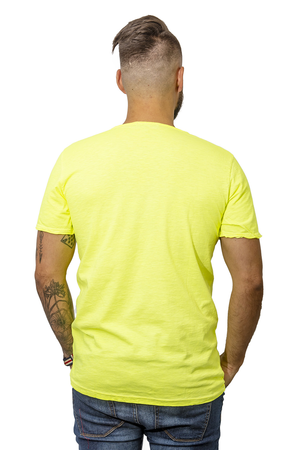 Mens T-shirt with pocket yellow back