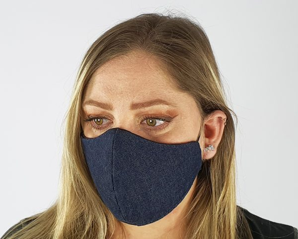 3 Layer 2 Pack Reusable Denim Mask Blue