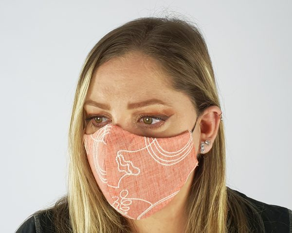 5 Layer 2 Pack Reusable Embroidery Face Mask Coral