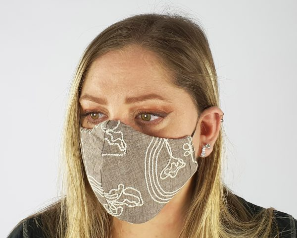 5 Layer 2 Pack Reusable Embroidery Face Mask Grey