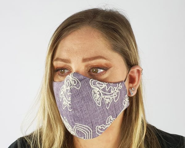 5 Layer 2 Pack Reusable Embroidery Face Mask Purple