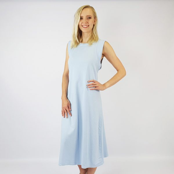 French Terry Vest Maxi Dress Grey/Blue
