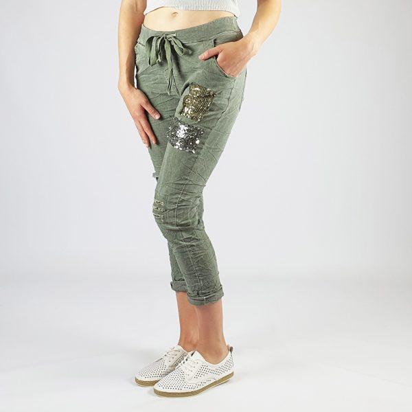 Cotton Elastine Sequin Patch Detail Pants Khaki