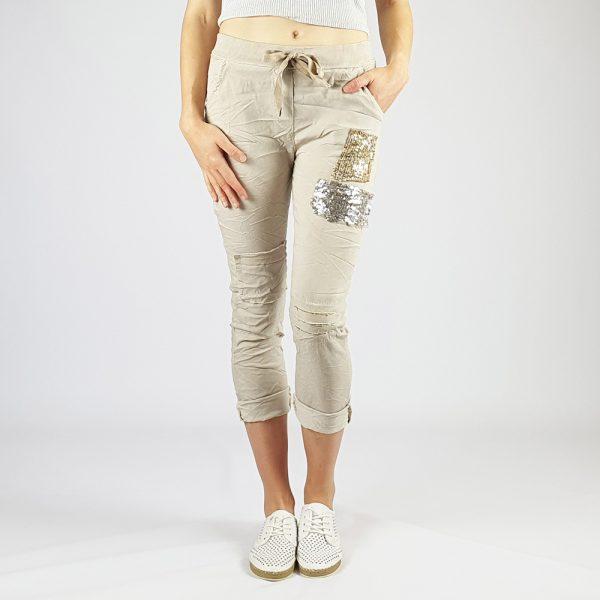 Cotton Elastine Sequin Patch Detail Pants Stone