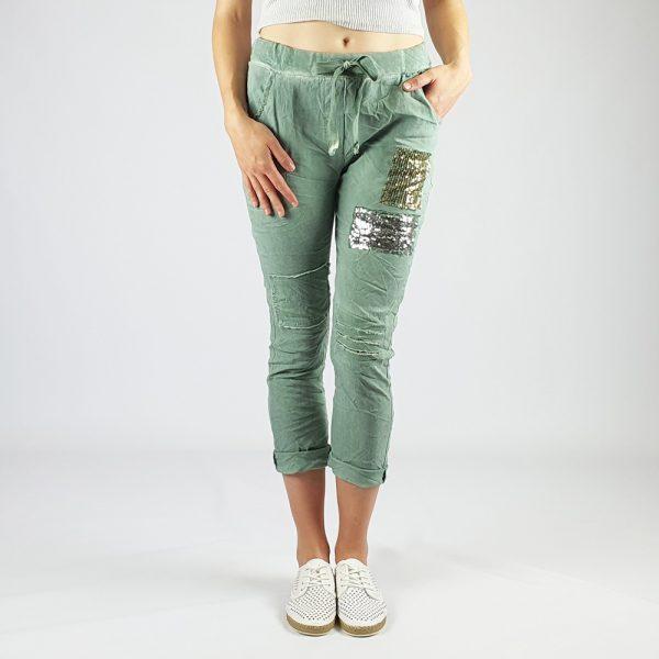 Cotton Elastine Sequin Patch Detail Pants Teal